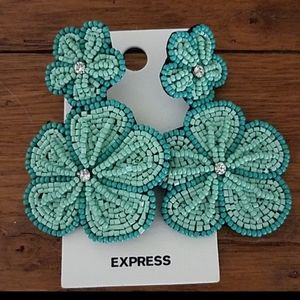 Express Aqua Beaded Floral Boho Festival Earrings